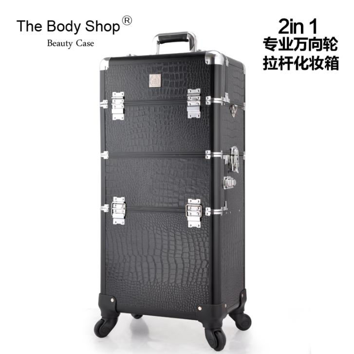 2014 New Arrival Professional Rolling Makeup Cases 2 in1 Mutifunctional Trolley Cosmetic Case With 360 Degree Wheel(China (Mainland))