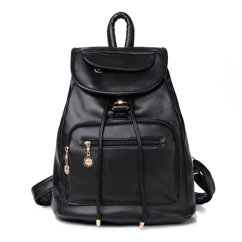 new 2016 school bag women backpack shoulders female travel bags new wind tide pu leather with soft black bag(China (Mainland))