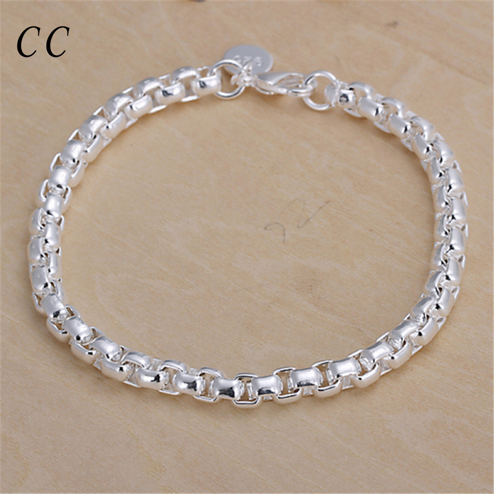 New fashion wholesale simple circular lattice chain & link bracelets for women silver plated jewelry accessories cheap CCNE0665(China (Mainland))
