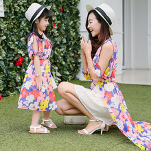 2016 summer Bohemian dress girls women maxi dress mom and daughter dress matching mother and daughter clothes dresses 2 color