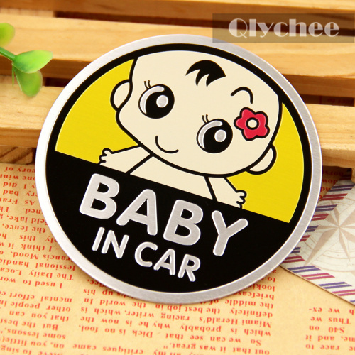 Car Accessories Baby On Board Yellow Color Car Sticker Little Flower Baby BABY IN CAR Metal Car Warning Decoration Sticker(China (Mainland))