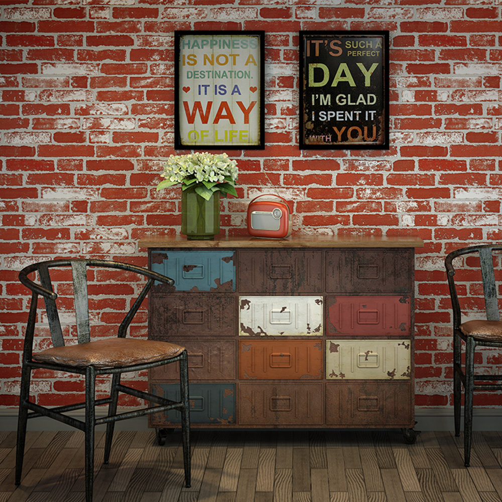 Haokhome modern faux brick wallpaper rust red white 3d for Black 3d brick wallpaper