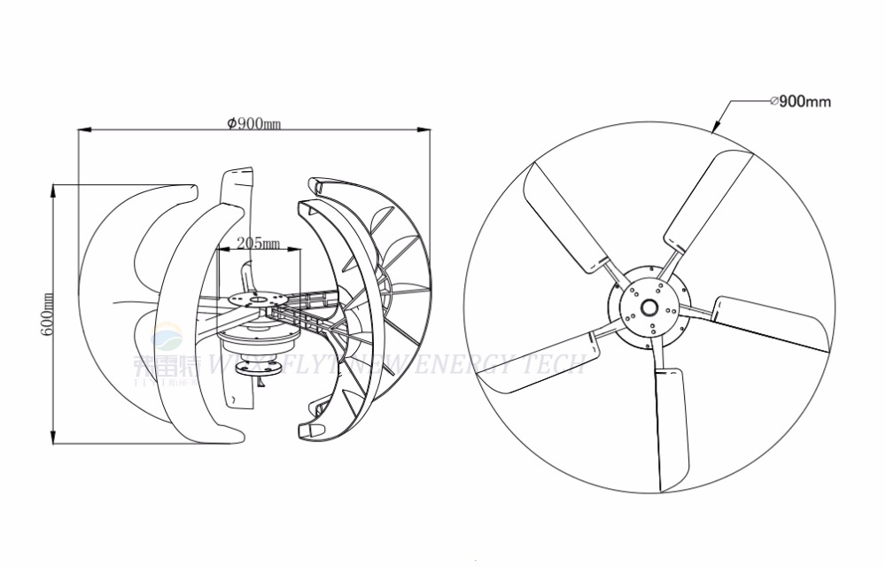 300w 12v vertical wind turbine generator kit, 1000w pure