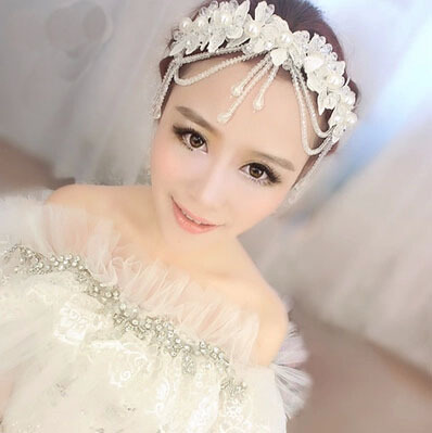 Free shipping New arrival bridal crown wedding hair jewelery set lace flower hair band H36(China (Mainland))