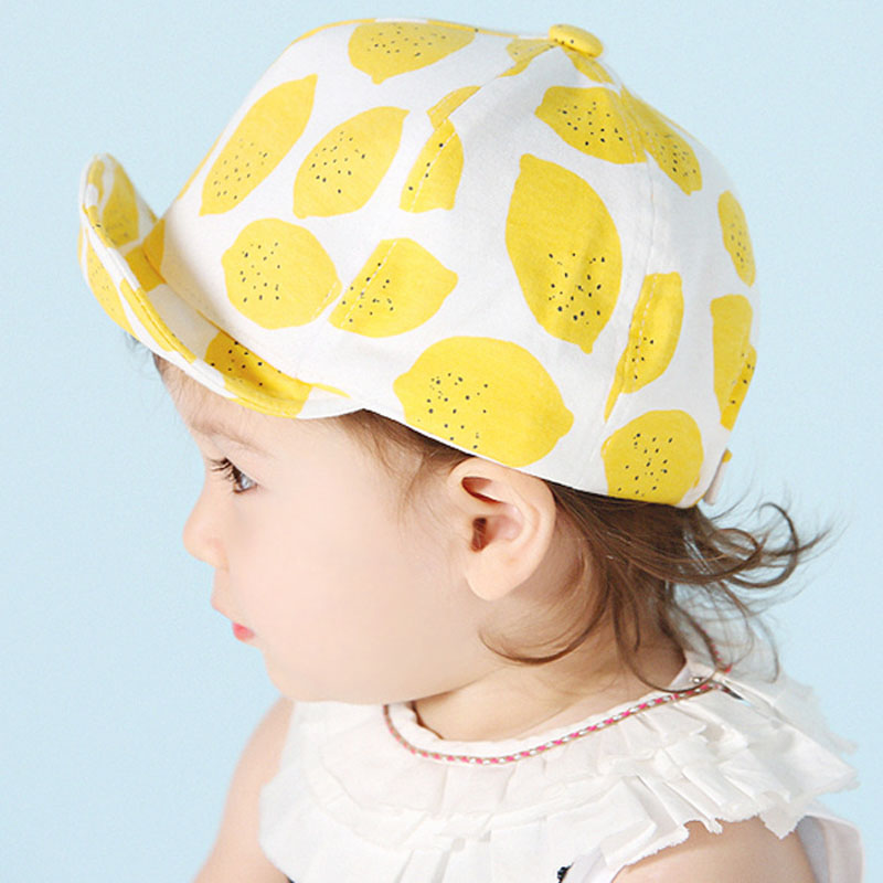 Fashion Lemon Print Children Hats Cute Cotton Baby Hat Summer Caps for Girls Boys with Soft Brim for 6-18 Months(China (Mainland))