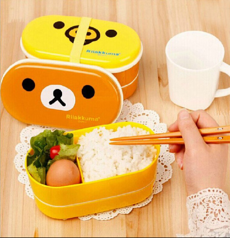 High Quality Cute Rilakkuma Double Layers Bento Lunch Box Food Container Kitchen Accessories Tableware For Kids D30(China (Mainland))