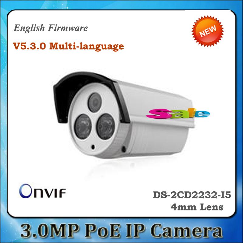 Free DHL 10PCS HIK Multi-language DS-2CD2232-I5 ONVIF POE 3MP HD 1080P IR 50m Outdoor Bullet Network Security CCTV IP Camera(China (Mainland))
