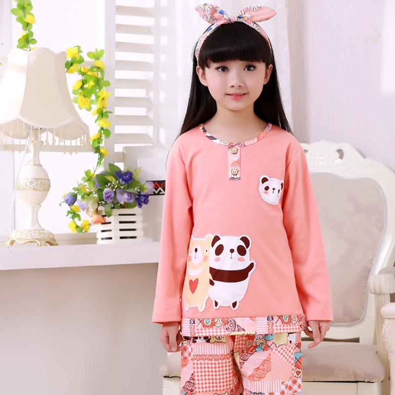 40 Girls Pajamas Pajamas For Kids Round Neck Family Clothing Pajamas Baby Kids tracksuit Cartoon bear