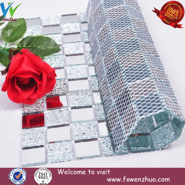Lowest price white mirror and withe diamond mosaic/ crystal glass mosaic tile(China (Mainland))