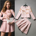Free delivery 2016 spring and autumn fashion boutique leisure suit jacket and skirt with the size