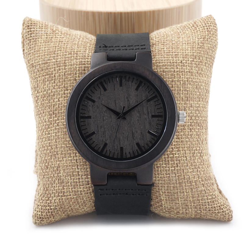BOBO BIRD C27 Ebony Wood Watch Men Brand Designer Soft Leather Band 100% Ebony Wood Quartz Watches for Men in Gift Box