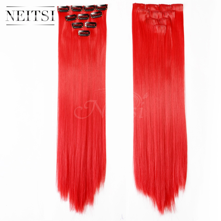 Neitsi 10pcs 18inch Colored Highlight Synthetic Clip on in Hair Extensions #F19 Red Support US Local Delivery 7 Day Return(China (Mainland))