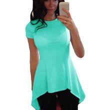 Buy 2017 Women's Basic Asymmetrical hem Shirt Tunic Crew Neck Top Short Sleeve T-Shirt P2 for $4.79 in AliExpress store