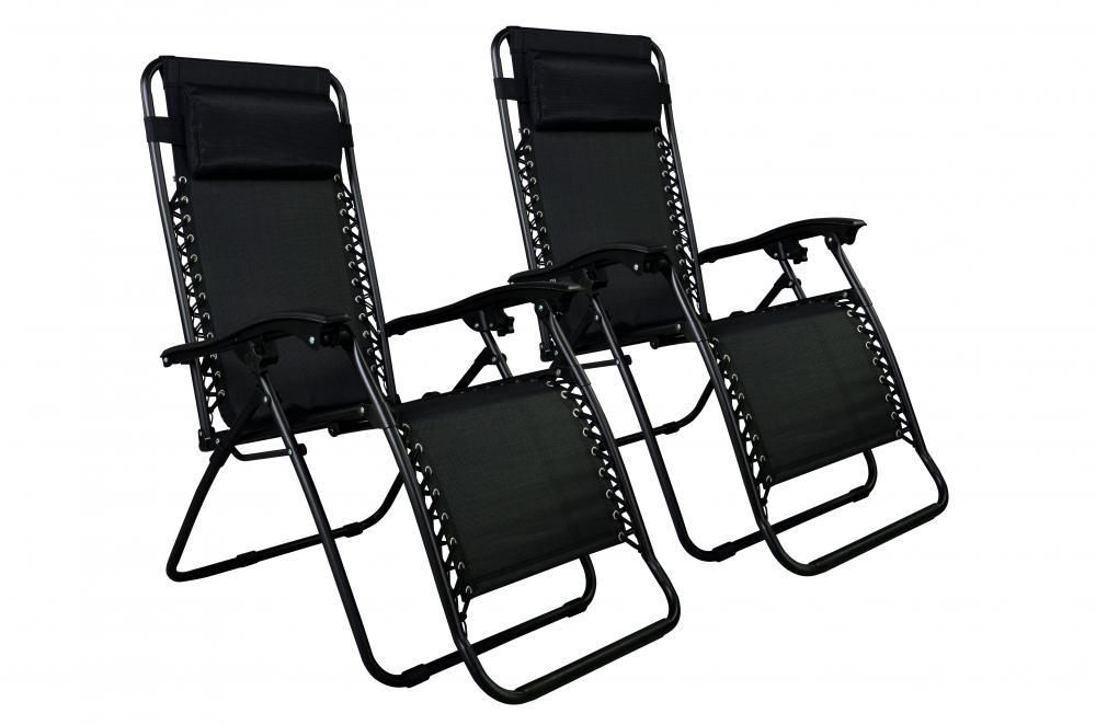 Zero Gravity Chairs Case 2 Black Patio Chair Outdoor Yard Beach Pool in