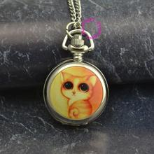 silver cute yellow cat chain pocket watch necklace wholesale buyer low price good quality lady girl