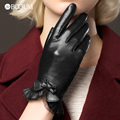 Genuine Leather Gloves Women Fashion Red Brown Short Winter Plus Velvet Thicken Bow knot Lace Real