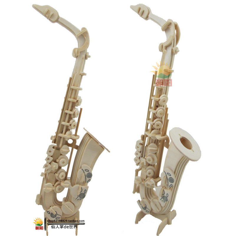 Wooden 3D Handmade Puzzle DIY Assembling Model Saxophone Toys