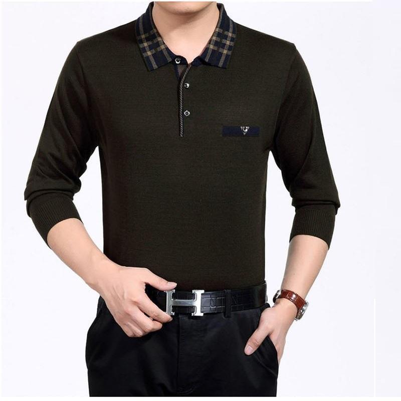 cheap middle-aged golf shirts mens long sleeve collar silky cotton polo collar shirts 2015 autumn new golf polo shirts(China (Mainland))