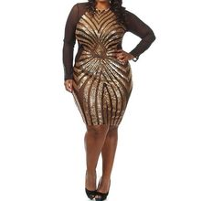Buy Europe Elegant Geometric Pattern Stitching Plus Size Sequin Gauze Long Sleeve Bodycon Club Dress Xl XXL XXXL BLM44729 for $24.36 in AliExpress store