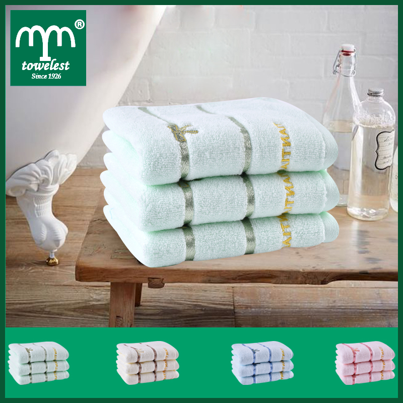 new 2016 wholesale -34*75cm 4pc/set 100% cotton face towel embroidered hand towel plain dyed washcloths with satin Brand Towels(China (Mainland))