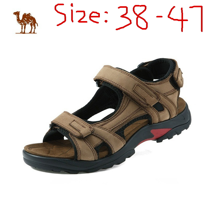 Big size men's sandals, beach shoes, leather fashion summer cool new men travel leather slippers size:38-47(China (Mainland))