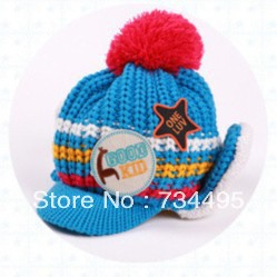 free shipping!6color lot=5pcs,2month-3 year,Lovely five star Cotton infant cap Beanie children kids Baby hats,protective ear cap(China (Mainland))