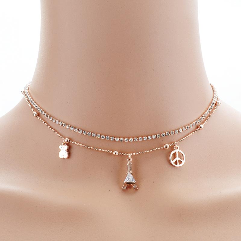 Summer 2016 Multifunction Layered 18K Gold Plated Eiffel Tower Pendant Crystal Charm Bracelets Necklace Fashion Jewelry(China (Mainland))