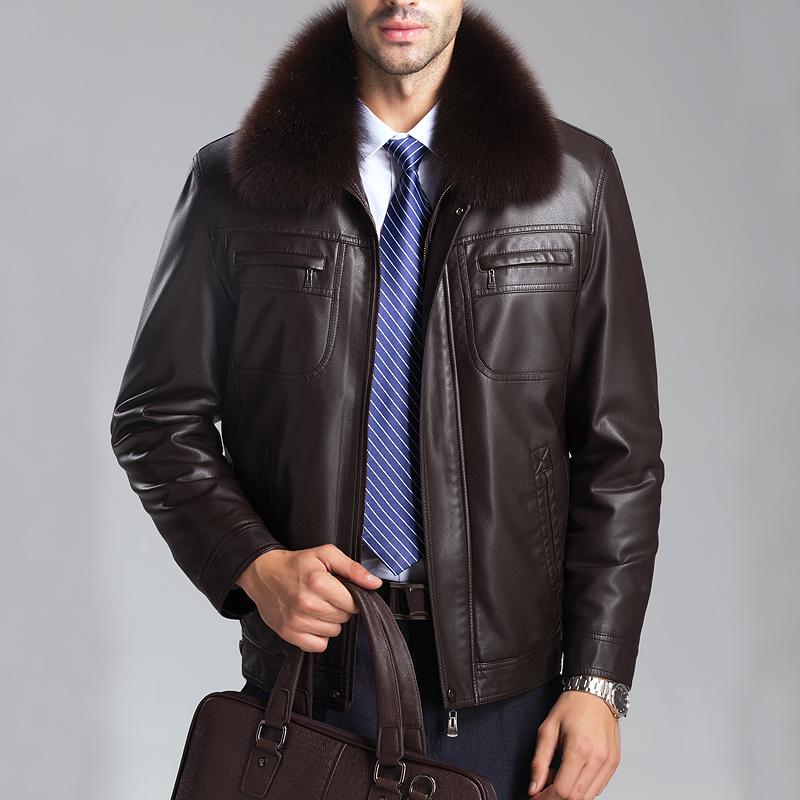 Winter Men's Sheepskin Genuine Leather Clothing Men's Big Fox Fur Collar Jacket Free Shipping M-XXXL(China (Mainland))