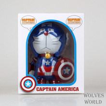 Anime Cartoon Doraemon Cosplay Captain America Money Bank 16 CM Boxed PVC Action Figure Collectible Toy toy