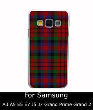 2250Qua RED BLUE TARTAN SCARF FASHION Style White Hard Back Cover for Samsung Galaxy A3 A5 A7 A8 E5 7 J5 J7 Grand 2 & Prime