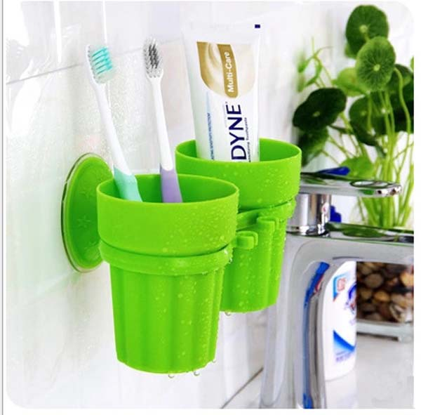 toothbrush storage backet / wall suction cup / toothpaste toothbrush holder Two cups + a shelf(China (Mainland))