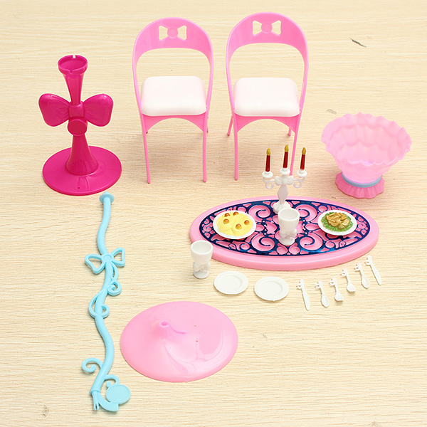 New Lovely Vintage Furniture Table Chairs Toys Furniture For Barbie Furniture Sets(China (Mainland))