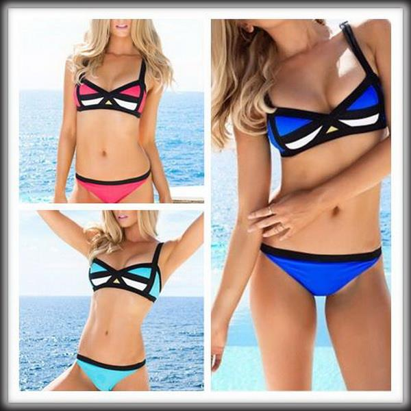 by dhl or ems 100 pieces 2015 Vintage Style Women Patchwork Sexy Bikinis Set Romantic Summer Beach Swimwears(China (Mainland))