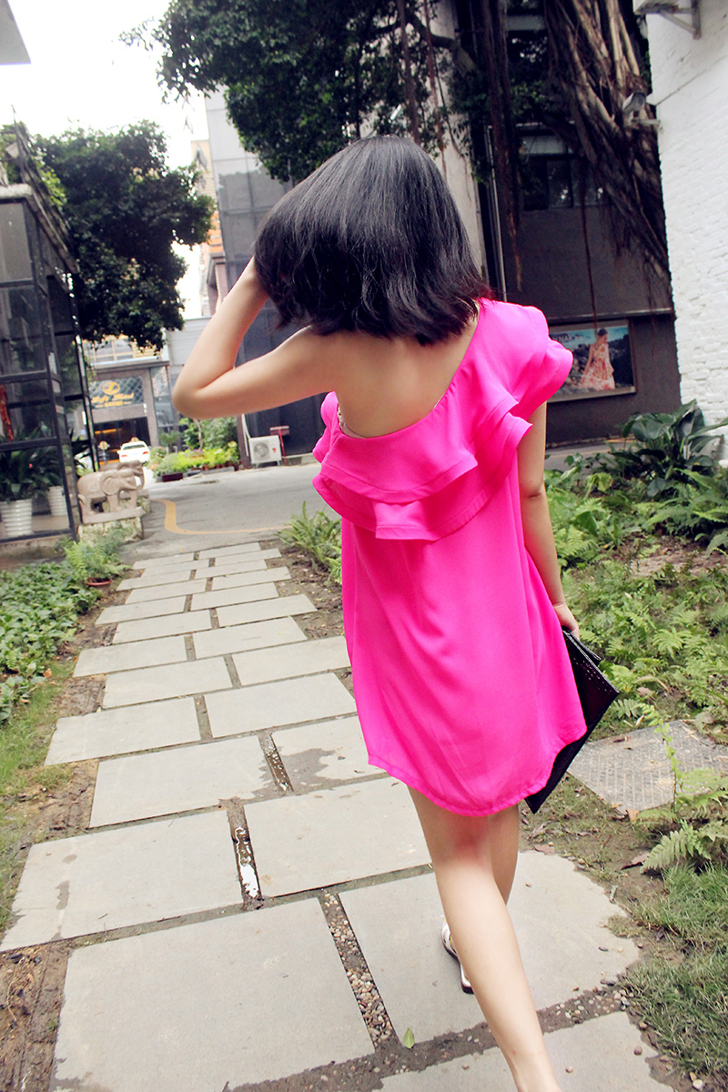 Fashion sexy chiffon double layer irregular tassel big ruffle strapless one-piece dress oblique