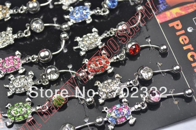 Wholesale 12pcs/lot Crystal Boat Anchor Stainless Steel Belly Navel Ring Fashion Body Piercing Jewelry