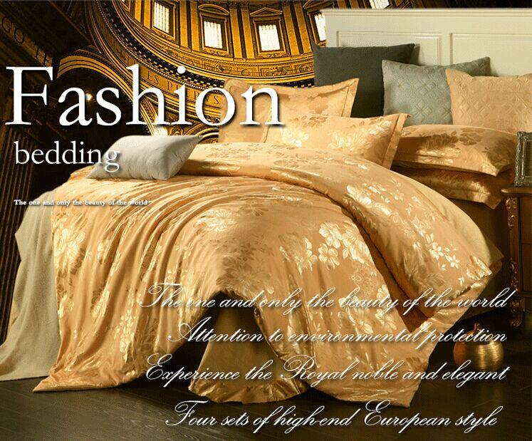 Fashion luxury tencel satin jacquard four piece bedding set spring and summer cotton duvet cover flat sheet 2*pillowcases(China (Mainland))