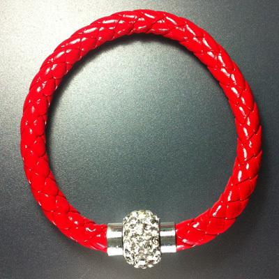 Free Shipping New Fashion Leather Wrap Wristband Cuff Punk Magnetic Rhinestone Buckle Bracelet Bangle