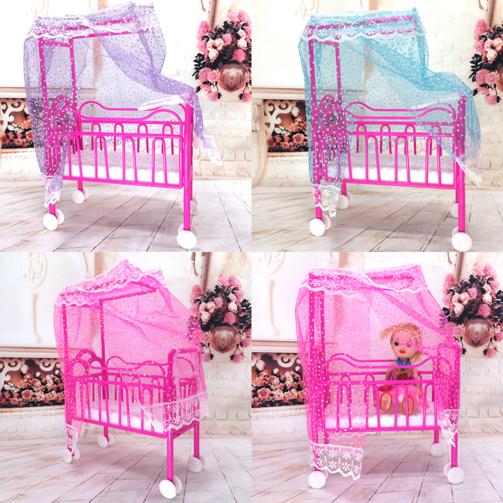 NK One Set Doll Accessories Baby Bed Super Cute Bed For Small Kelly Dolls For Barbie Dolls Girls Gift Favorite Design Toys(China (Mainland))