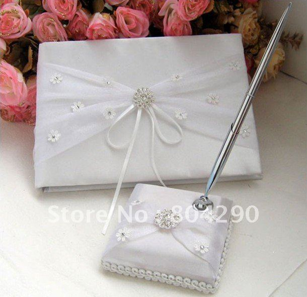Guaranteed 100% exquisite design wedding guest book with pen wedding decoration