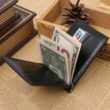Leather Money Clip Wallet Men Simple Style Photo Window Credit Card money clip purse man Quality Assurance(China (Mainland))