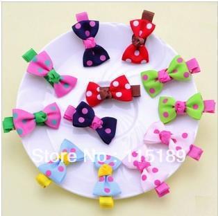 ( Min. Order $ 14.99) 2Dot Bowknot Hair Clip Baby Kids/Princess/Baby Accessory 4-5colors 1 Lot - Sunny Girl (Min.$14.99 store)