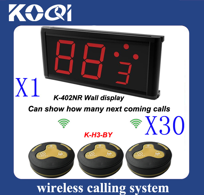 tea house Wireless Calling System of 30 pcs of H3-BY service bells and 1 pc of K-402NR calling receiver(China (Mainland))