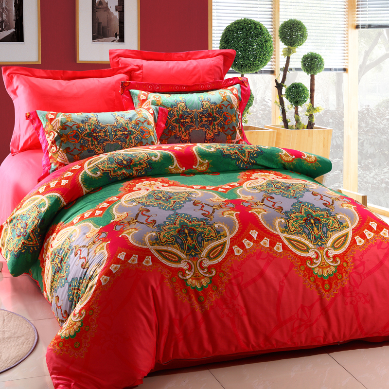 Bohemia Designer Bedding Set 4pcs Bright Color Comforter