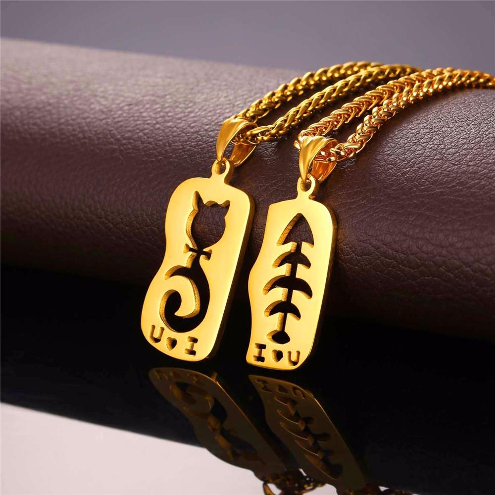 2pcs Cat Fish Couple Pendant Necklaces For Lovers