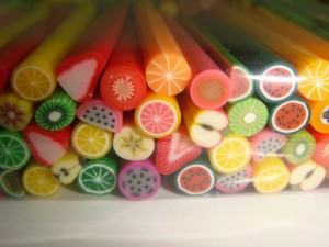 10 Pcs/Set Polymer Clay Nail Art Stickers Cane with Fruit and Flower Design(China (Mainland))