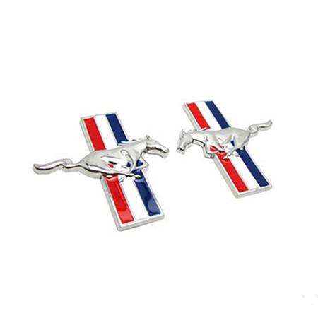 2pcs Chrome Running Horse Logo Emblem Door Fender Badge Sticker for Ford Mustang(China (Mainland))