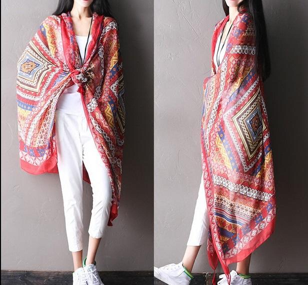 Clearance - summer new fashion geometric print cotton Ms. wild beach towel cape(China (Mainland))