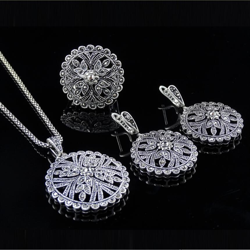 New Arrival Big Flower Pendant Earrings Ring Set Fashion Vintage Crystal Jewlery Sets Cheap Costume Jewlery(China (Mainland))