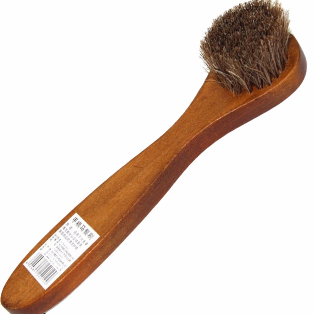 1Pcs Wholesale Polish Buffing Brush Care Long Wood Handle Bristle Hair Shoes Brush Cleaner For Boot(China (Mainland))