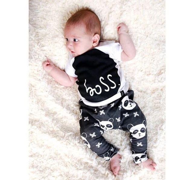 Мода 2016 лето стиль детской одежды baby boy одежда наборы для девочек хлопок panda ...